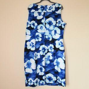 Beautiful blue floral scuba sheath dress